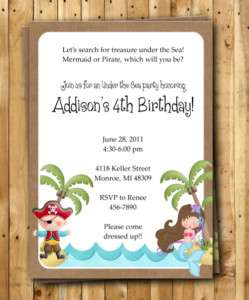Pirate & Mermaid Birthday Party INVITATION CUSTOM