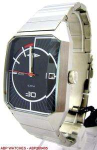 UMBRO MENS BLACK DIAL BRUSHED STAINLESS STEEL BRACELET WATCH WITH DATE