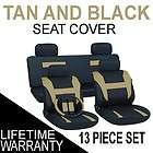 13pc set tan black auto car seat covers free steering