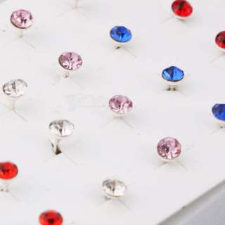 20Pair Round Shape Rhinestone Stud Earrings Mixed Color