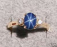 LINDE LINDY CORNFLOWER BLUE STAR SAPPHIRE CREATED RING