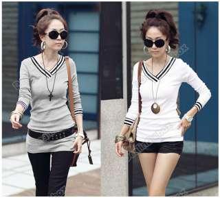 Fashion Womens Lady Casual Long Sleeve V Neck Cotton T Shirt Mini