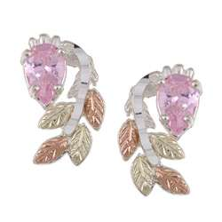 Black Hills Gold and Sterling Silver Pink Cubic Zirconia Earrings