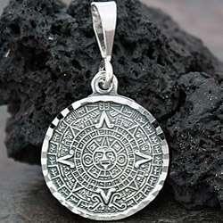 Sterling Silver Aztec Calendar Pendant (Mexico)