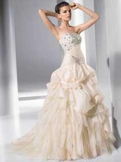 Shipping Beautiful Hot Custom Chapel Wedding Dress Bridal Gown Size
