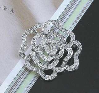 Brand New Lots 6Pcs Clear Flower Crystal Rhinestone Brooches
