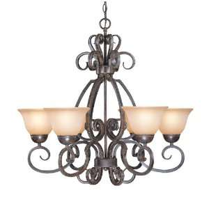Metal Chandelier with Painted Glass Shade 22026 FM