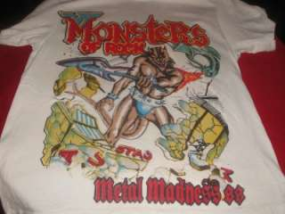 Van Halen Monsters of Rock Tour T Shirt L Vtg Metallica Scorps Dokken