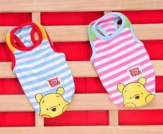 Winnie Pooh Dog Cat Clothes T Shirt Apparel Pink/Blue