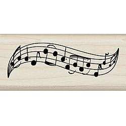 Inkadinkado Music Staff Border Wood mounted Rubber Stamp