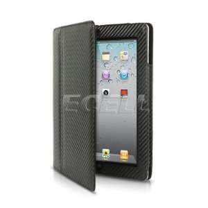 Ecell   BLACK CARBON FIBRE LEATHER CASE WITH STAND FOR