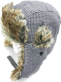 FUR TROOPER LUMBER JACK Houndstooth Black White HAT Cap