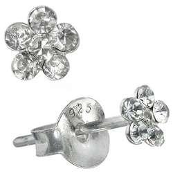 Sterling Silver Clear Crystal Flower Earrings