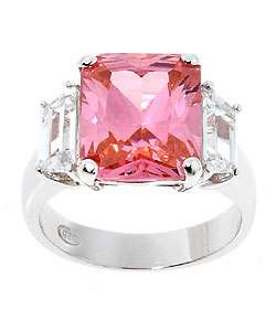 Sterling Essentials Sterling Silver Pink Cubic Zirconia Fashion Ring
