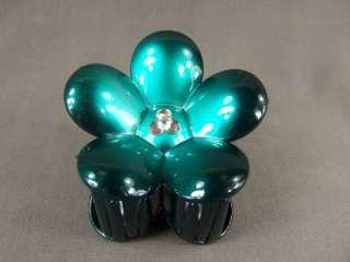 Aqua black flower daisy barrette hair clip claw clamp