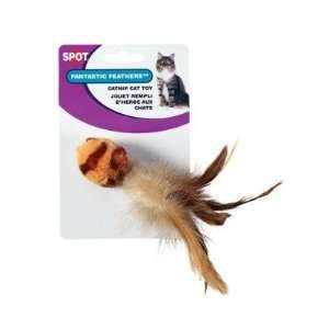Ethical Tiger Stripe Ball with Feathers Cat Toy: Pet