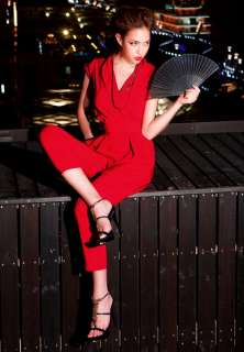 Womens Cap Sleeve Stylish Jumpsuits Romper Overall Long Pants Trousers