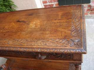 Antique English Victorian Carved Tiger Oak Sofa Table Buffet Sideboard