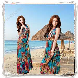 Women Sexy Long Maxi Dress Beach Cocktail Evening Summer Multi Color
