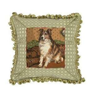 123 Creations C749.14x14 inch Sheltie Petit Point Pillow