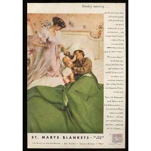 1956 St Marys Blankets Sunday Morning Print Ad (10789): Home & Kitchen