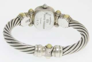 David Yurman 18k Gold & St. Silver Cable Watch Pink Mother of Pearl