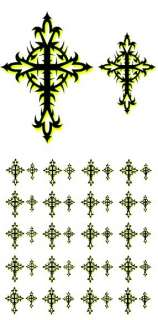 LOT OF 40 TRIBAL CROSS NAIL ART DECAL STICKERS 2 SIZES