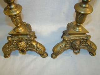 TALL Antique BRASS Old LIONS Head BUST Figural CANDLE Holder STAND