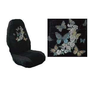 Car Truck SUV Butterflies Print Seat Covers 2 Black