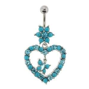 Turquoise Navel Ring with Flower, Heart, and Butterfly: Jewelry