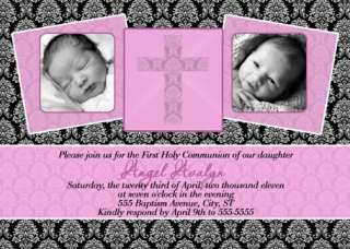 Boy Girl Damask BAPTISM Christening Invitations Photo