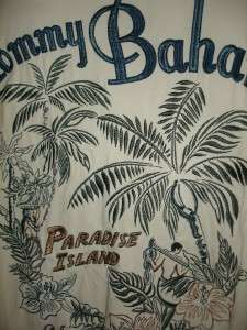 Tommy Bahama Mens Embroidered Silk Shirt Large L