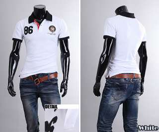 fit mens polo shirts wappen collar casual shirts short sleeve t shirts