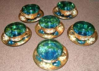 Antique Moser Art Glass Tea set, Cobalt Blue Very Rare