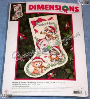 KITTENS Counted Cross Stitch Christmas Stocking Kit   Morehead