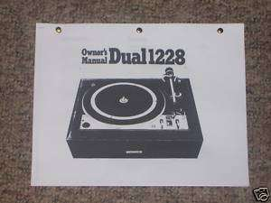 Dual 1228 Turntable Owners Manual FREE SHIP