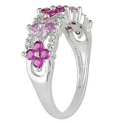10k White Gold Created Ruby, Pink Sapphire, Diamond Ring (HI, I2 I3