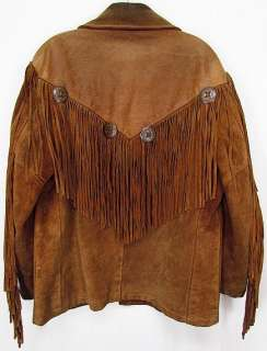 USA Vintage Cowboy SCHOTT Suede Leather Coat WESTERN FRINGE Rancher