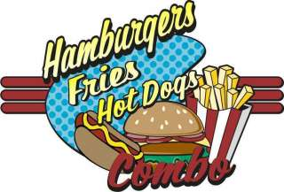Hot Dogs Fries Hamburgers Concession Decal 24