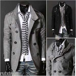 Mens Slimline Design Double Breasted Wool Coat Jacket