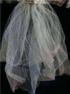Satin Long Sleeve Wedding Dress and Netting & Applique Veil