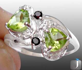 Sz 7 SMART DIAMOND GREEN PERIDOT HEART GARNET 925 SILVER ARTISAN RING