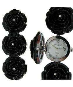 Betsey Johnson Womens Rose Black Watch