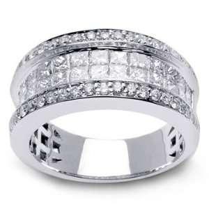 64ct 14K White Gold Womens Half Eternity Diamond Wedding Band Ring