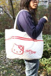 HELLO KITTY WHITE LEATHERETTE SHOULDER BAG TOTE NEW