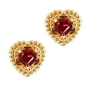 1.84 Ct Heart Shape Red Garnet and Diamond Yellow Gold