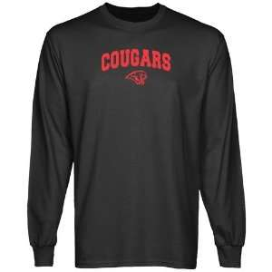 NCAA Houston Cougars Charcoal Logo Arch Long Sleeve T