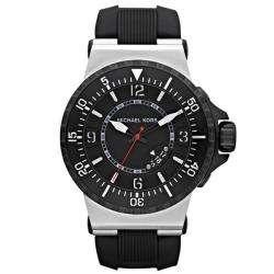 Michael Kors Mens Black Rubber Strap Analog Watch