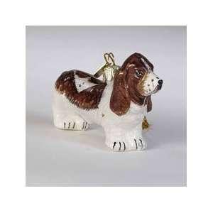 Basset Hound Dog Blown Glass Christmas Ornaments