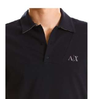 Armani Exchange AX Bib Front Stretch Polo Shirt Black NWT